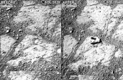Снимки, сделанные камерой Opportunity на 3528-й и 3540-й дни пребывания на Марсе: помимо неизвестно откуда взявшегося камня вы не найдете серьезных отличий