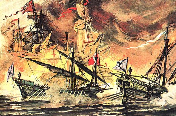 Адмирал Шарль Нассау-Зиген губит русский флот...