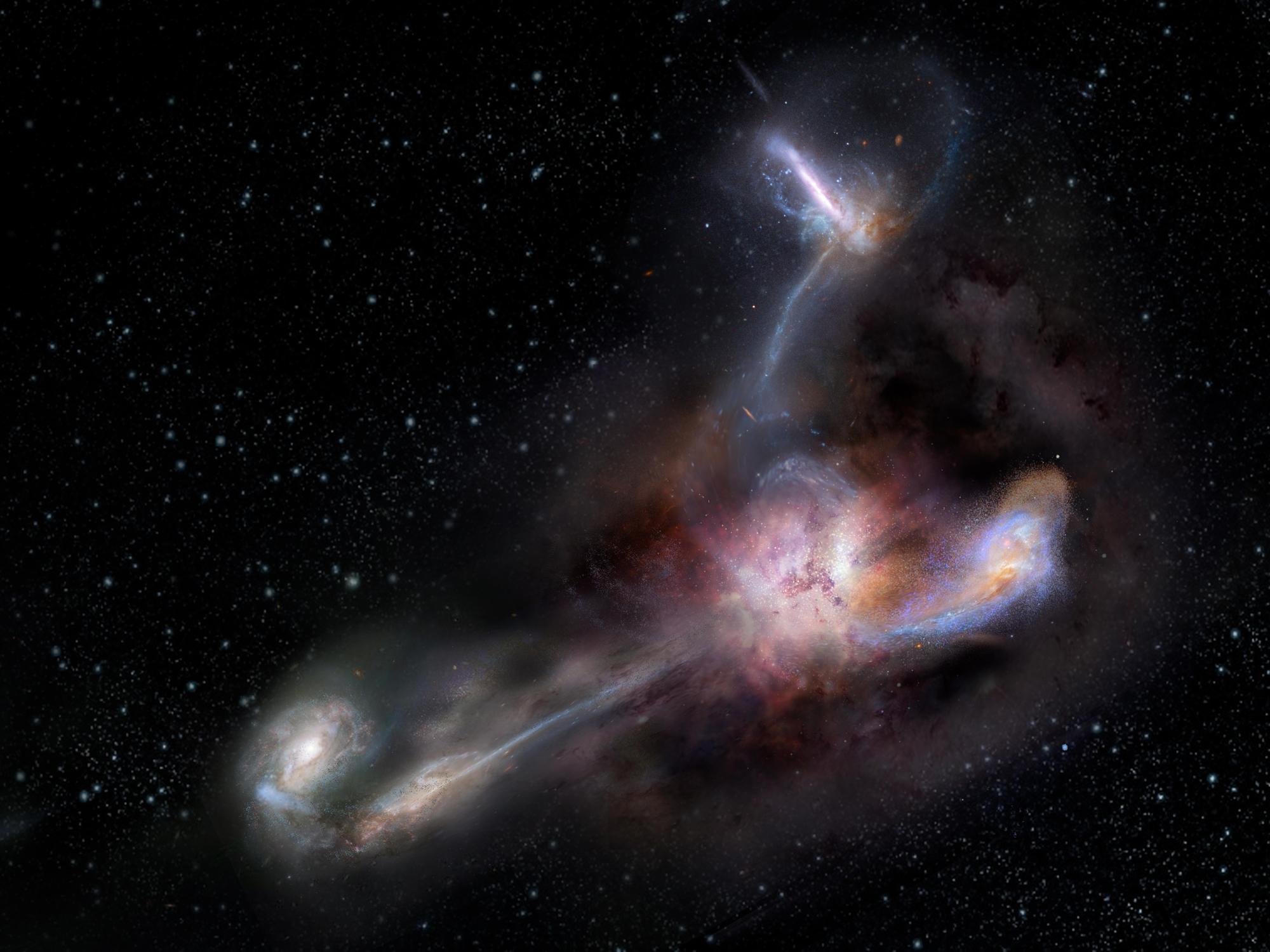 Галактика «пожирающая» трех соседей