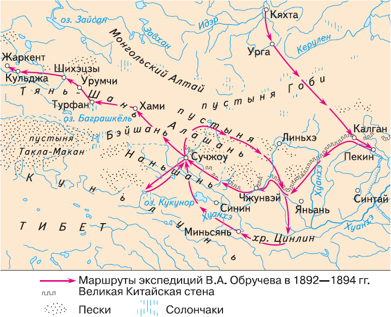Маршруты экспедиций В. А. Обручева