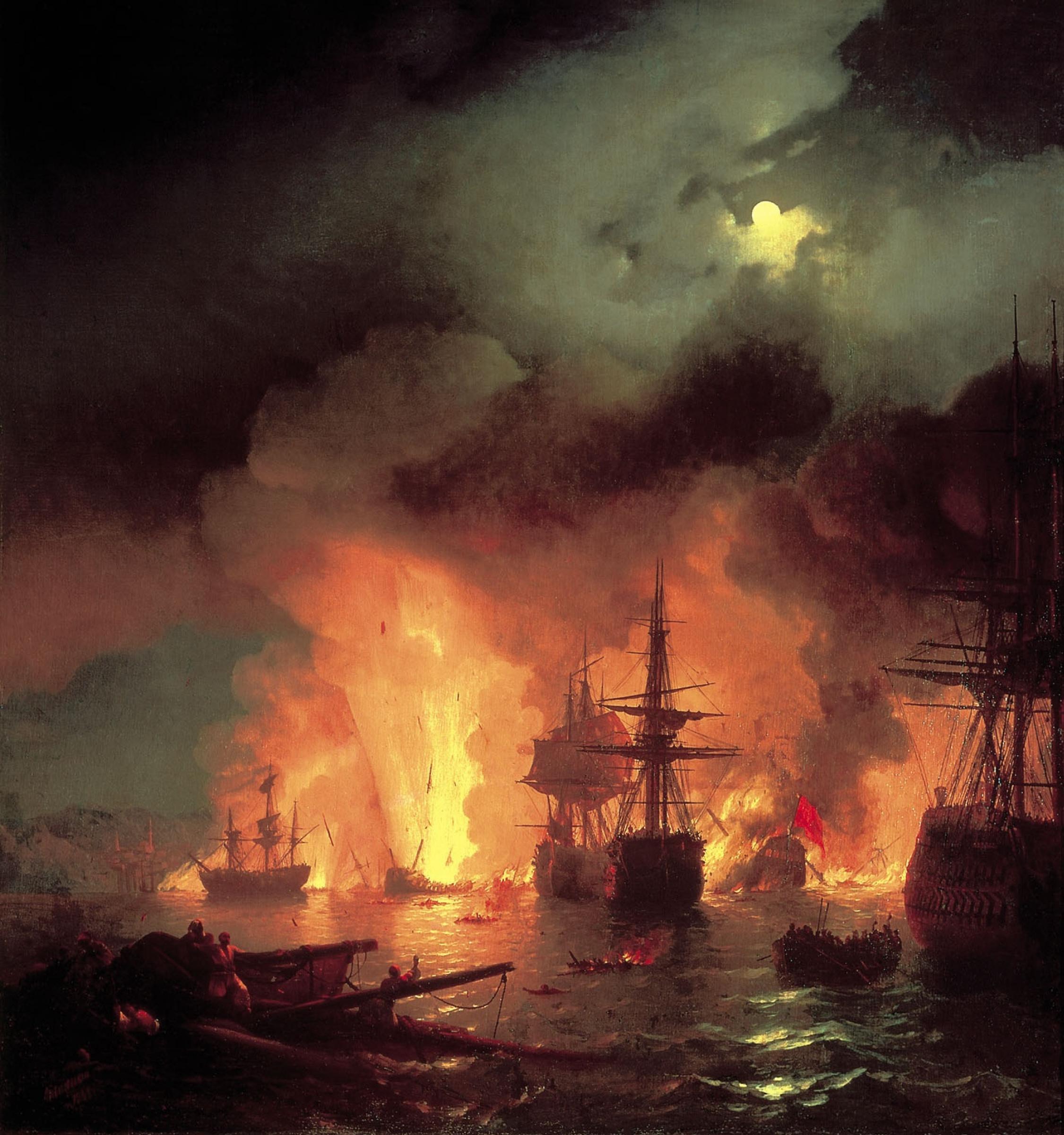 Чесменское сражение - разбили, потопили и в пепел обратили