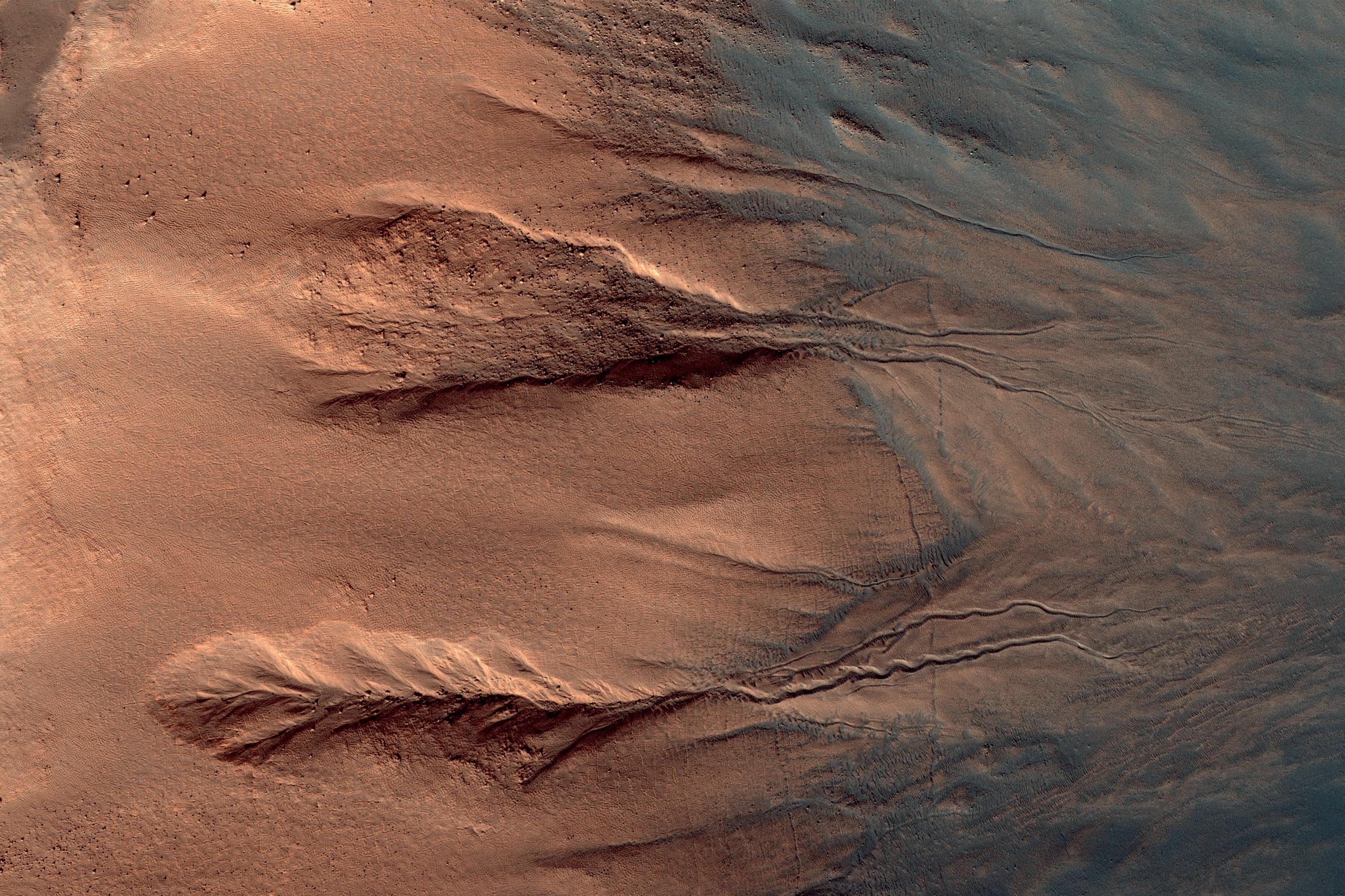 Светлые овраги, темные дюны на Марсе