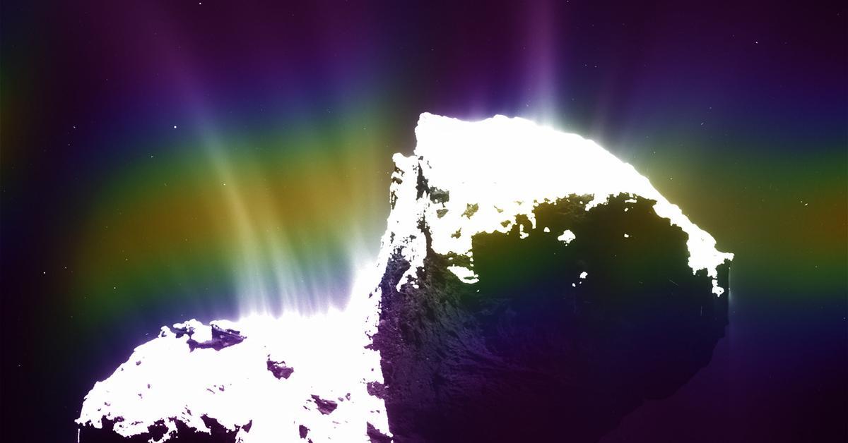 Ультрафиолетовые полярные сияния наблюдаются вокруг кометы. Это невидимо для людей